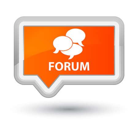 comments: Forum (comments icon) orange banner button Stock Photo