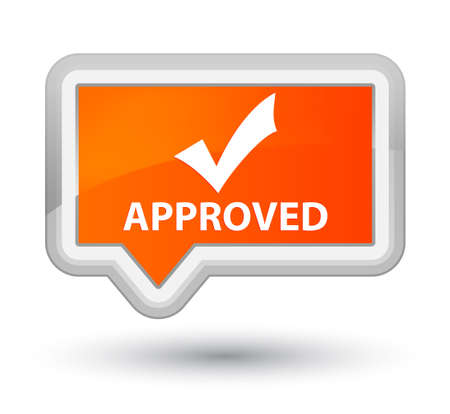 validate: Approved (validate icon) orange banner button Stock Photo