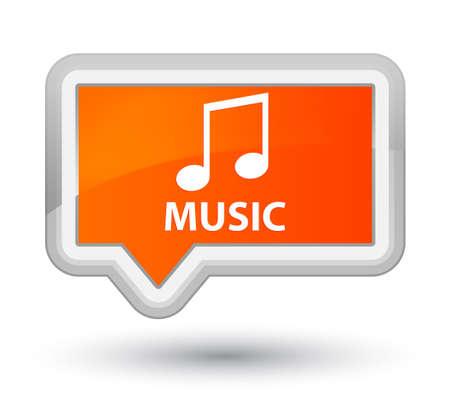 Music (tune icon) orange banner button Stock Photo