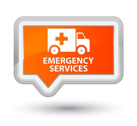 emergency services: Emergency services orange banner button