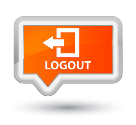 log off: Logout orange banner button Stock Photo