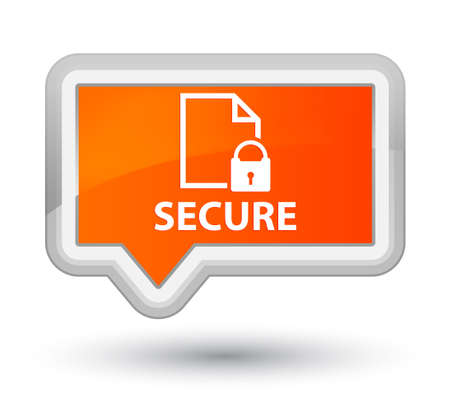 insecure: Secure (document page padlock icon) orange banner button Stock Photo