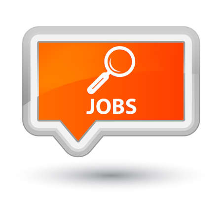 opportunity discovery: Jobs orange banner button Stock Photo