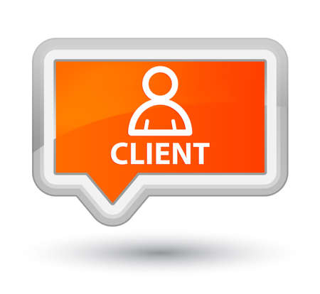 Client (member icon) orange banner button Stock Photo