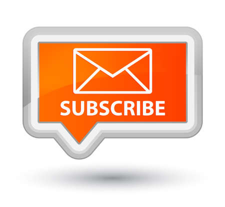 Subscribe (email icon) orange banner button Stock Photo