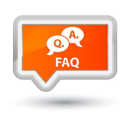 Faq (question answer bubble icon) orange banner button