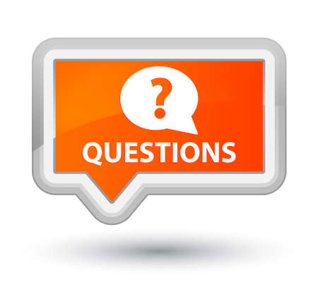 Questions (bubble icon) orange banner button Stock Photo