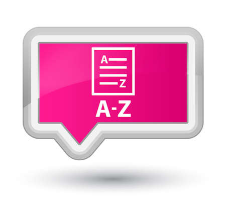 az: A-Z (list page icon) pink banner button Stock Photo