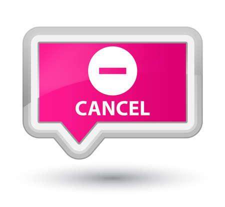 abort: Cancel pink banner button Stock Photo