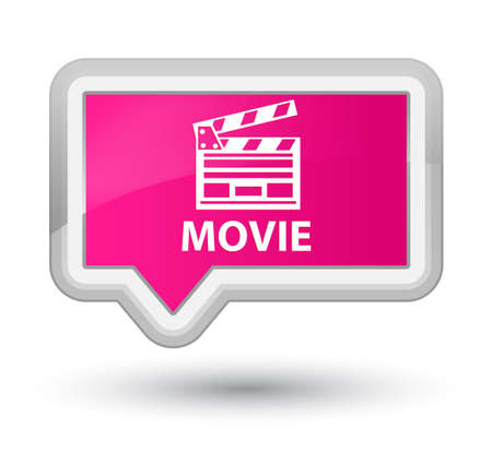 Movie (cinema clip icon) pink banner button Banco de Imagens