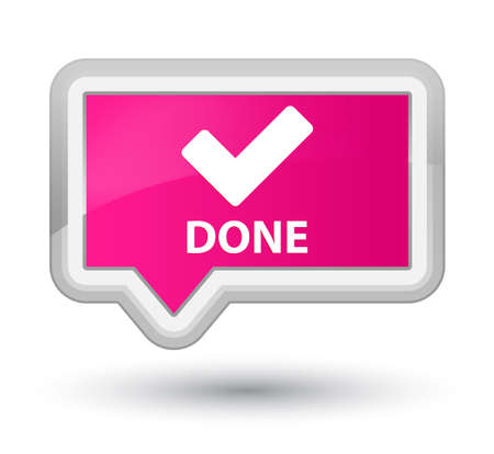 pink banner: Done (validate icon) pink banner button Stock Photo