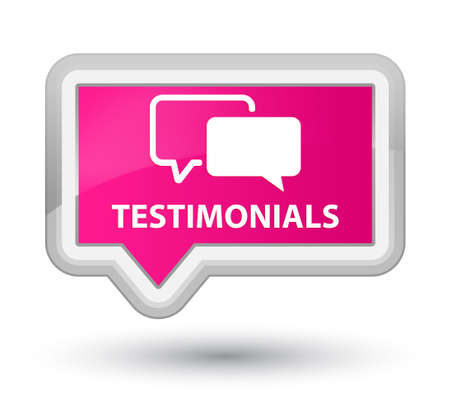 tribute: Testimonials pink banner button Stock Photo