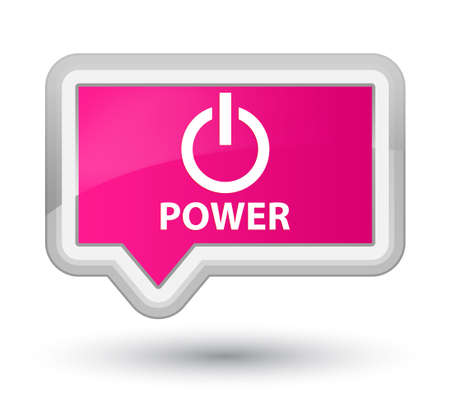 shutdown: Power pink banner button Stock Photo