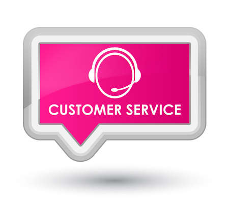 customer care: Customer service (customer care icon) pink banner button