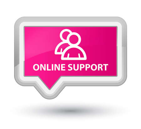online support: Online support (group icon) pink banner button