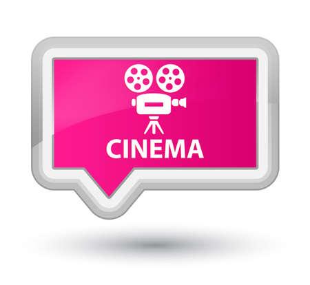 cinematographic: Cinema (video camera icon) pink banner button Stock Photo