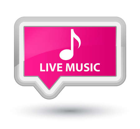 live music: Live music pink banner button Stock Photo