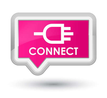 pink banner: Connect pink banner button Stock Photo