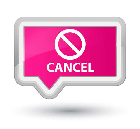 abort: Cancel (prohibition sign icon) pink banner button Stock Photo