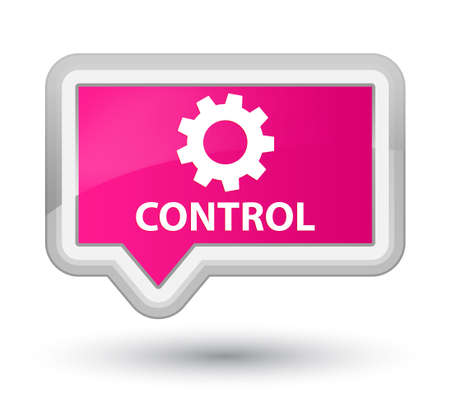 preference: Control (settings icon) pink banner button Stock Photo