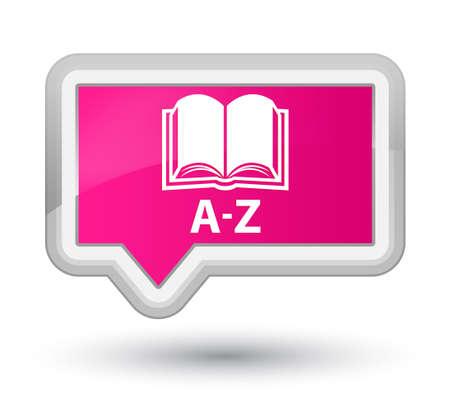 az: A-Z (book icon) pink banner button Stock Photo