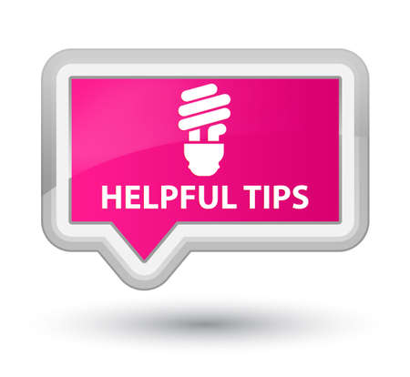 helpful: Helpful tips (bulb icon) pink banner button