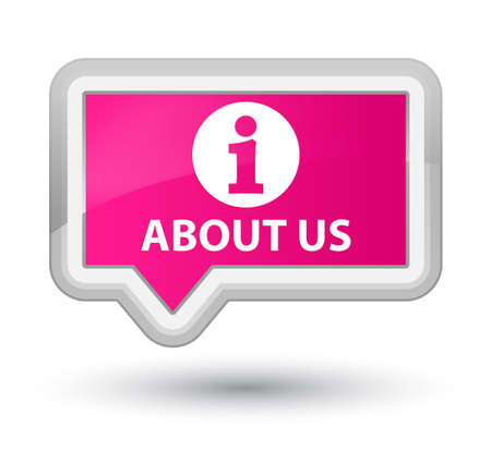 about us: About us pink banner button Stock Photo