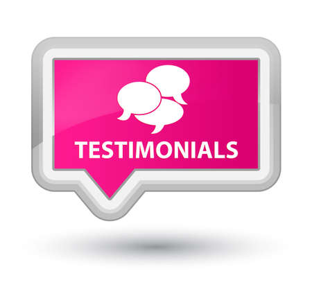 comments: Testimonials (comments icon) pink banner button Stock Photo