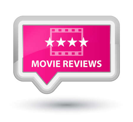 reviews: Movie reviews pink banner button Stock Photo