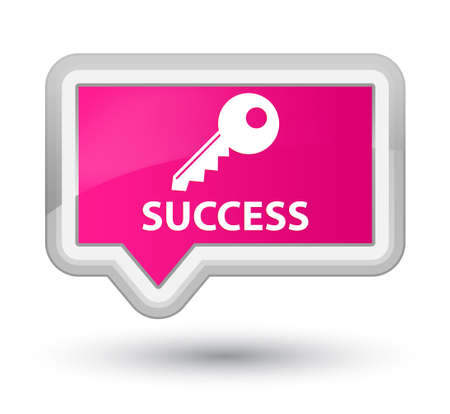 insecure: Success (key icon) pink banner button Stock Photo