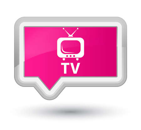 tv station: TV pink banner button