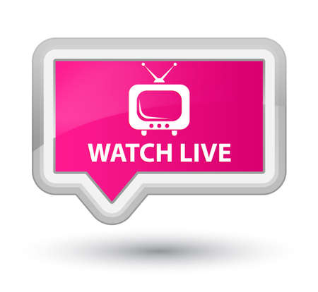 pink banner: Watch live pink banner button Stock Photo