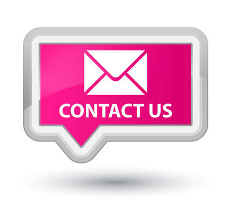 email contact: Contact us (email icon) pink banner button Stock Photo