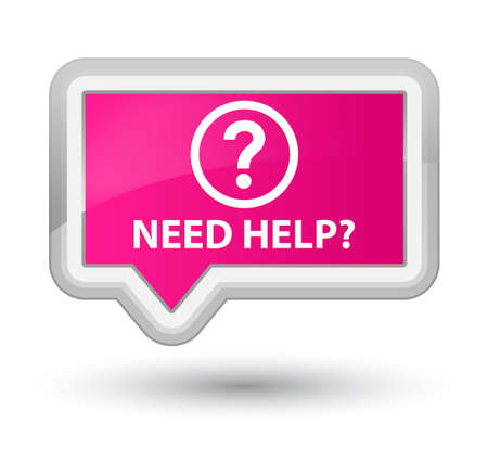 need help: Need help (question icon) pink banner button Stock Photo
