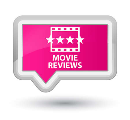 ratings: Movie reviews pink banner button Stock Photo