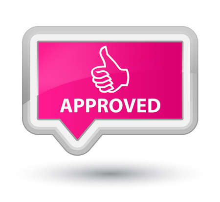 thumbs up icon: Approved (thumbs up icon) pink banner button Stock Photo