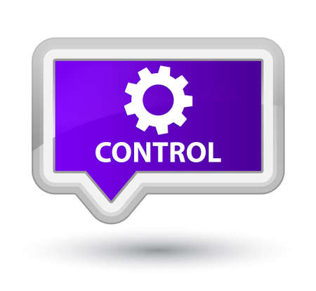 preference: Control (settings icon) purple banner button Stock Photo