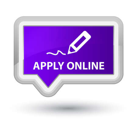 apply: Apply online (edit pen icon) purple banner button Stock Photo