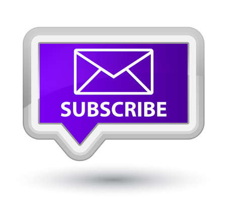 article marketing: Subscribe (email icon) purple banner button Stock Photo