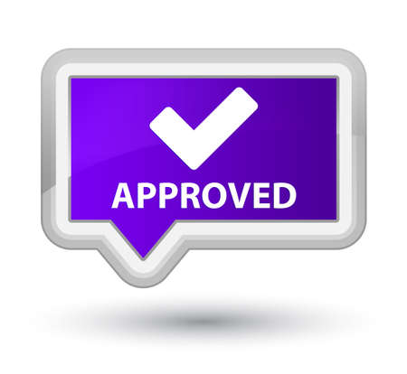 validate: Approved (validate icon) purple banner button Stock Photo