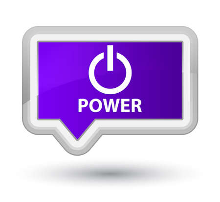 shutdown: Power purple banner button Stock Photo