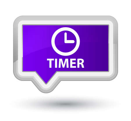 timer: Timer purple banner button Stock Photo