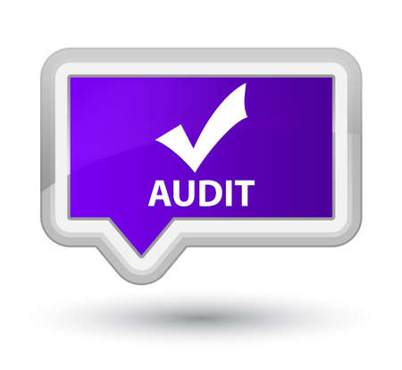allow: Audit (validate icon) purple banner button Stock Photo