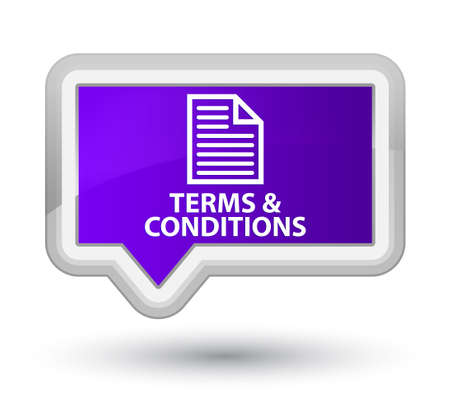 conditions: Terms and conditions (page icon) purple banner button Stock Photo