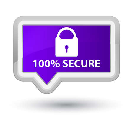 secure: 100% secure purple banner button Stock Photo