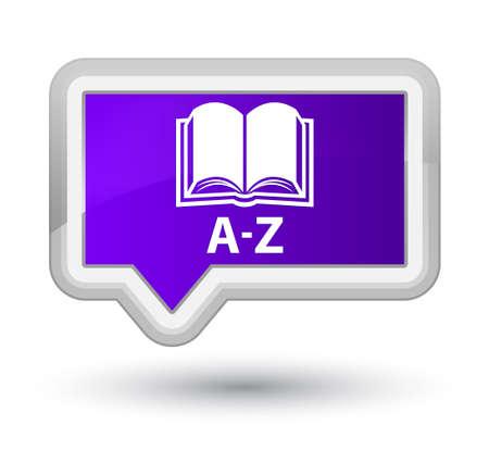 az: A-Z (book icon) purple banner button Stock Photo