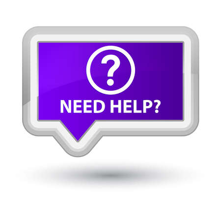 Need help (question icon) purple banner button Stock Photo