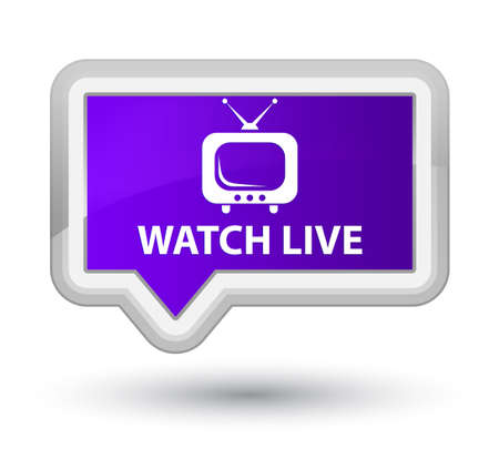 tv station: Watch live purple banner button Stock Photo