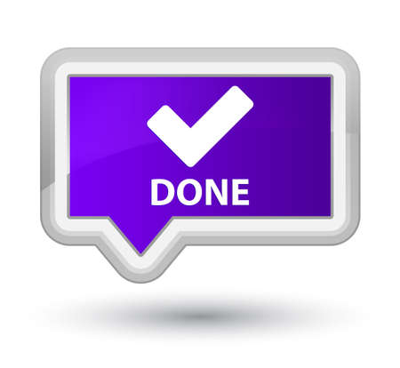 validate: Done (validate icon) purple banner button