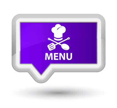 cater: Menu (restaurant icon) purple banner button Stock Photo